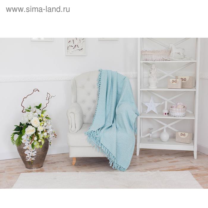 Плед-покрывало АНАНАС голубой СОФТ 200х240 см, хлопок 350 гр/м