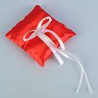 Подушечка для колец, красная с белым бантиком