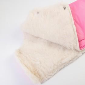 Муфта для рук на санки или коляску «Комфорт» меховая, на кнопках, цвет розовый - фото 2226930