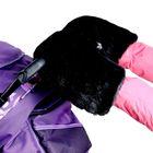 Муфта для рук «Люкс» флисовая, на кнопках, верх - искусственный мех, цвет «Чёрный кварц»