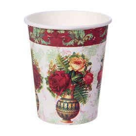 """Стакан бумажный """"Розы в вазе"""" 250 мл (набор 6 шт)"""