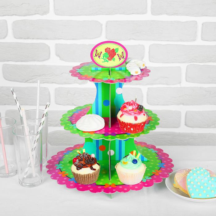 Подставка для пирожных «Бантики», трехъярусная