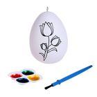 """Раскраска яйцо """"Цветочек"""" с красками 4 цвета, кисть"""
