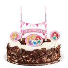 """Праздничный набор для торта """"С Днем Рождения"""" 2 свечи, Принцессы, 12х20 см"""