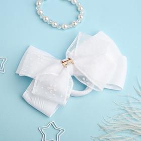 "Bow for girls ""Schoolgirl"", transparent tape with flowers"
