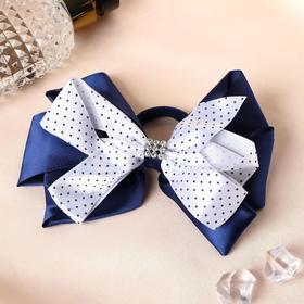 "Elastic hair bow ""Schoolgirl"" d-14 cm blue with white ribbon pea"