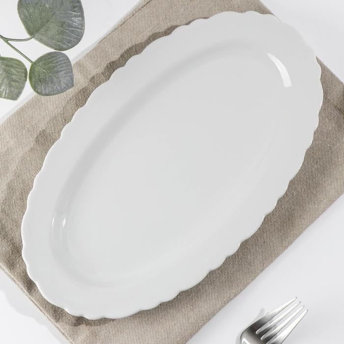 Тарелка TURON PORCELAIN «Классика», 29 см, овальная, цвет белый - фото 162812612