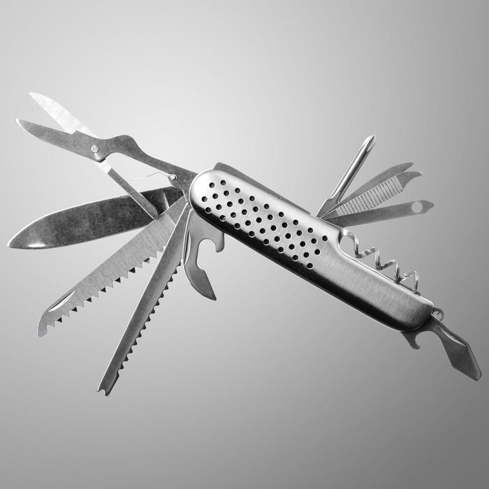 Нож многофункциональный 10 в 1, рукоять с насечками, хром
