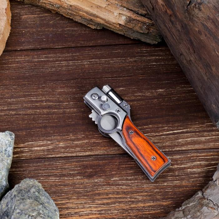 Нож складной автоматический с фонариком, рукоять под дерево с кольцом