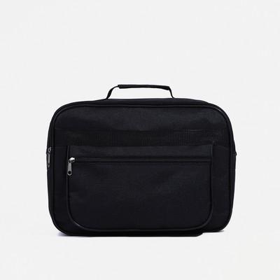 Сумка деловая, 2 отдела на молниях, наружный карман, длинный ремень, цвет чёрный