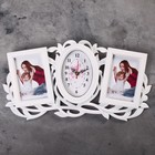 "Wall clock, series: the Photo, ""Twig"", 2 frames, white, 24х48 cm, mix"
