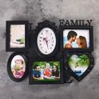 "Wall clock, series: Photo ""Family Love"", 5 photo frames, black, 38х54 cm, mix"