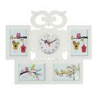 "Wall clock, series: Photo ""Sovushka"", 4 photo frames, white 38х45 cm"