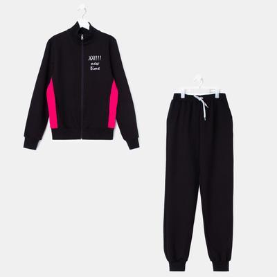 Костюм спортивный для девочки, рост 164 см (84), цвет чёрный/малиновый 33-КП-28Ш