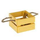 Ящик реечный, ручка- шнур, жёлтый, 13х12,5х9см