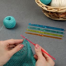 Крючки для вязания пластиковые, d=3-7мм, 15см, 5шт, цвет МИКС Ош