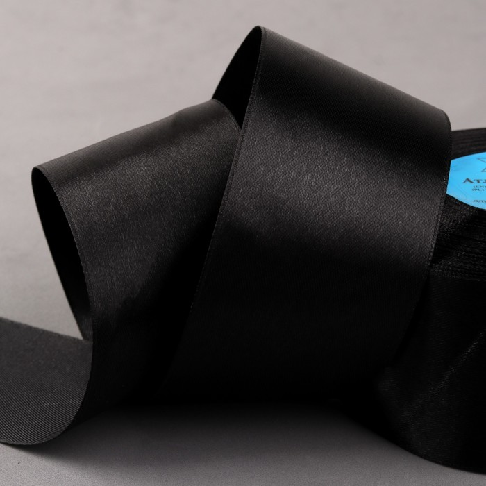 Лента атласная, 50 мм × 33 ± 2 м, цвет чёрный №113