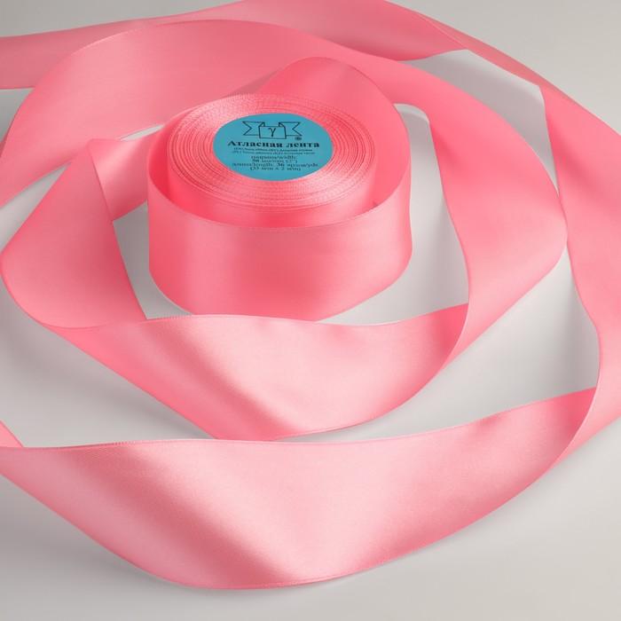 Лента атласная, 50 мм × 33 ± 2 м, цвет розовый №005