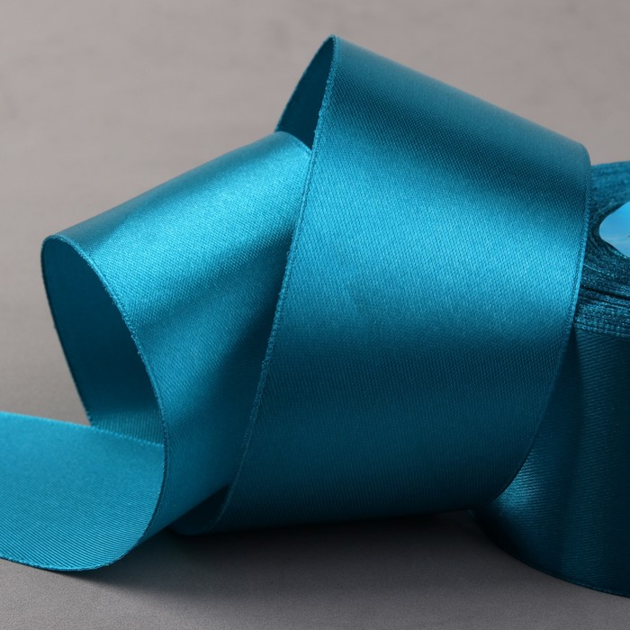 Лента атласная, 50 мм × 33 ± 2 м, цвет ярко-голубой №074