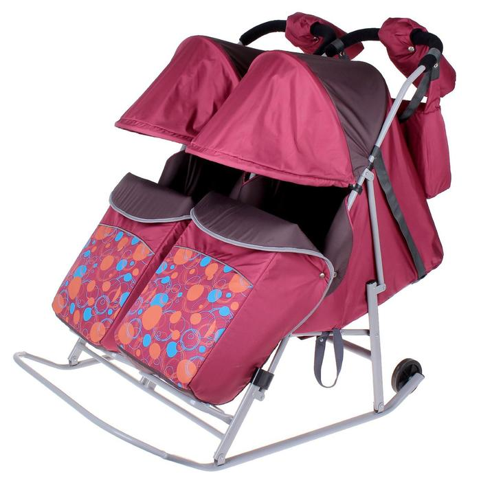 """Санки-коляска для двойни """"Кружочки"""", цвет: бордовый"""