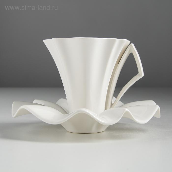 """Чайный набор """"Лотос белый """" чашка 0,2 л + блюдце"""