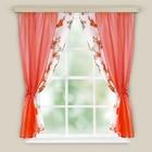 Комплект штор для кухни Арина красный вуаль однотон,вуаль-печать, принт микс, 250 х160, п/э