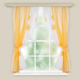 Комплект штор для кухни Арина персик вуаль однотон, вуаль-печать, принт микс, 250х160, п/э