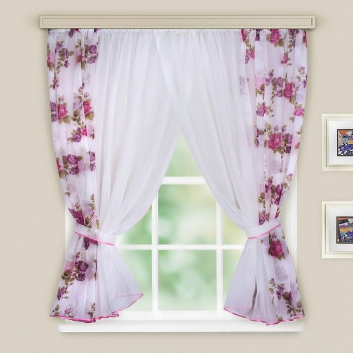 Комплект штор для кухни Минима Розовый вуаль однотон,вуаль-печать, принт микс, 340х160 , п/э