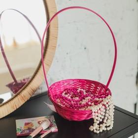 Корзина плетёная, бамбук, розовая, низкая