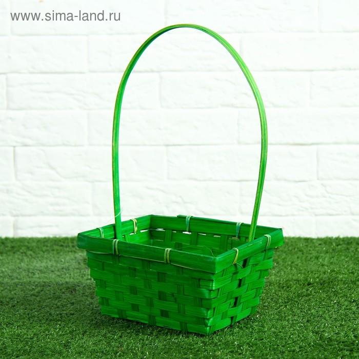 Корзина плетёная, бамбук, зелёная, прямоугольная, большая
