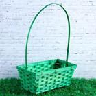 Корзина плетёная, бамбук, зелёная, прямоугольная
