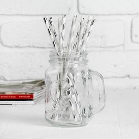 Трубочка для коктейля «Полоска», набор 12 шт., цвет серебряный в Донецке