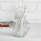 """Трубочка для коктейля """"Сердечки"""", набор 12 шт., цвет серебряный"""
