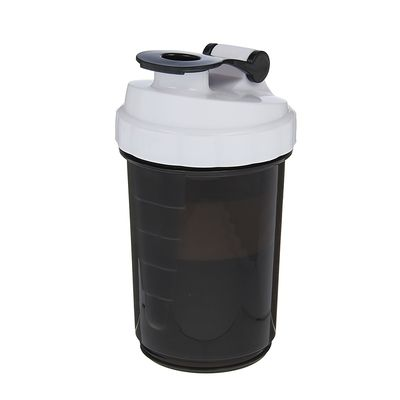 Shaker with pill box and spiral at the top, 500ml, black & white locking loop black
