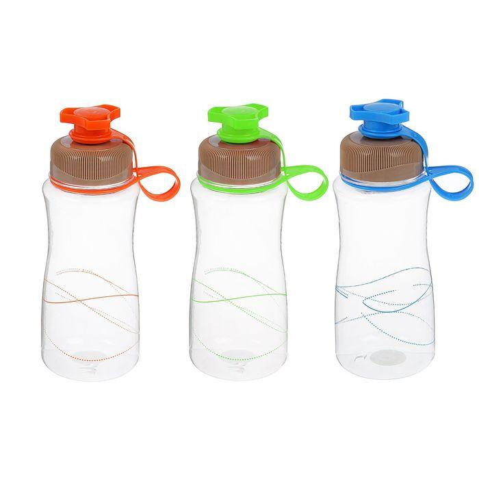 Бутылка для воды спортивная Lines с крышкой-клапаном, 600 мл, микс