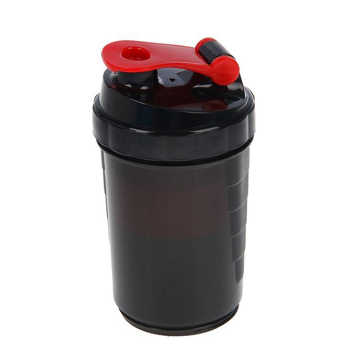 Шейкер с таблетницей и спиралью наверху, 500 мл, чёрный, запирающая петля красная