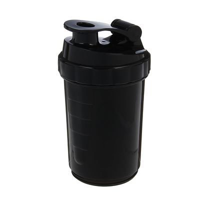 Shaker with pill box and spiral at the top, 500 ml, black