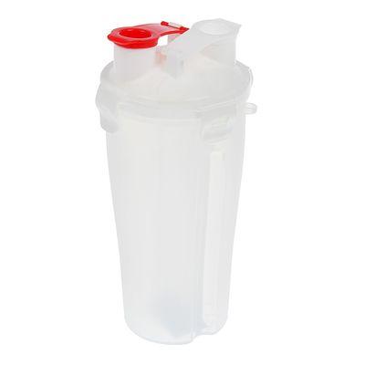 Шейкер 700 мл, с сеточкой, доп. контейнер-2шт., запирающая петля красная, белый, 11.5х23 см