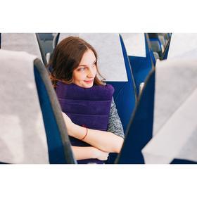 Подушка для шеи дорожная, надувная, цвет синий - фото 4639241