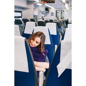 Подушка для шеи дорожная, надувная, цвет синий - фото 4639243