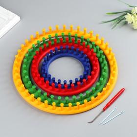 """Набор устройств для вязания """"Лум"""", 4 шт. d=14 см, 19 см, 24 см, 30 см, крючок и игла в комплекте"""