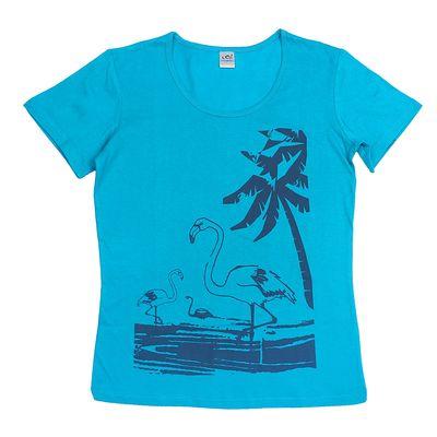 Футболка женская 30097, цвет голубой, принт МИКС, р-р 44