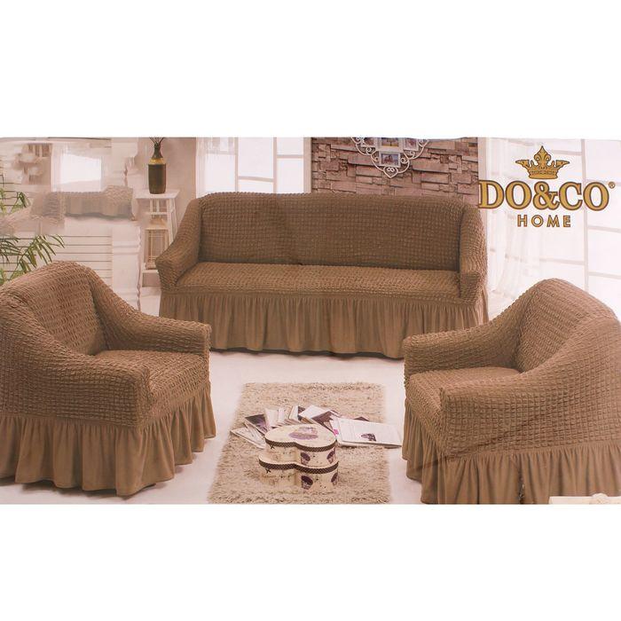 Чехол для мягкой мебели DO&CO DIVAN KILIFI 3-х предметный, кофе с молоком, п/э