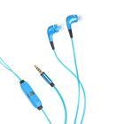 Наушники с микрофоном Human Friends Spark Blue, вакуумные, со светящимся кабелем, голубые