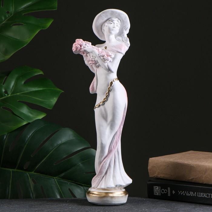 "Фигура ""Девушка в шляпе"" малая белая/золото 10х13х38см  МИКС - фото 1003970"
