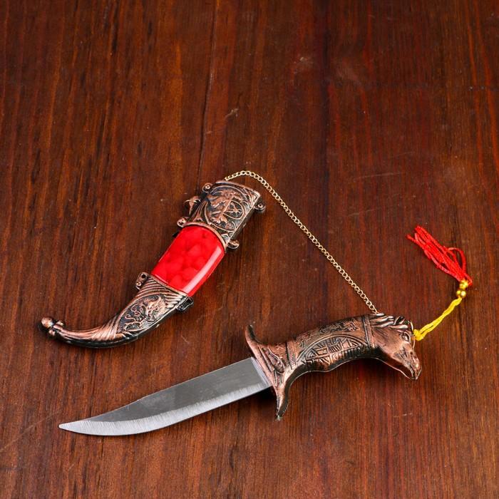 Сувенирный нож мини, 11,5 см, рукоятка в форме головы лошади