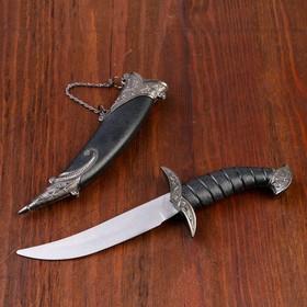 Сувенирный нож изогнутый, 26,5 см, на ножнах длинный завиток, чёрный