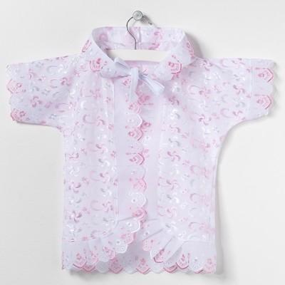 Крестильная рубашка с капюшоном, рост 68 см, цвет розовый 15012_М