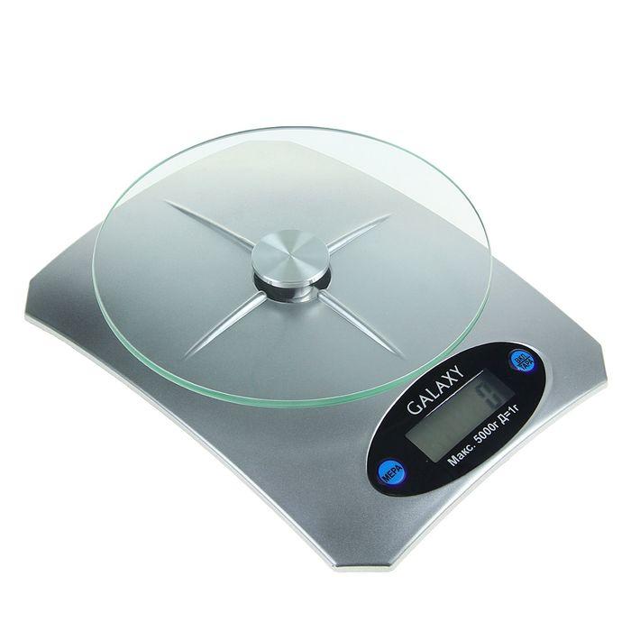 Весы кухонные Galaxy GL 2802, электронные, до 5 кг, LCD-дисплей, серебристые