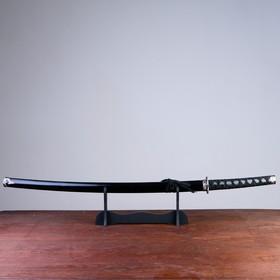 Сувенирное оружие «Катана на подставке», чёрные ножны с разводами, 100 см